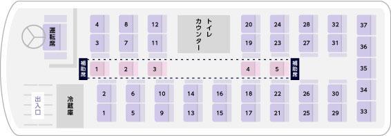 トイレ付き大型バス座席表(サロンなし)