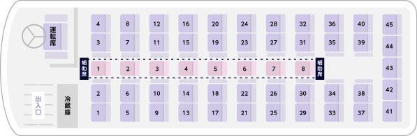サロン付き大型バス座席表(サロンなし)
