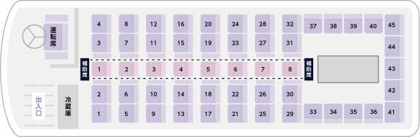 サロン付き大型バス座席表(サロンあり)