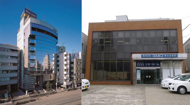 全国94拠点に事業所を展開。順調に業績を伸ばし、東証二部上場をしており、安定成長を実現しています。 (左:本社ビル・右:東北営業所※自社ビル)