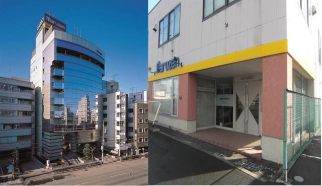 全国94拠点に事業所を展開。順調に業績を伸ばし、東証二部上場をしており、安定成長を実現しています。 (左:本社ビル・右:札幌営業所※自社ビル)